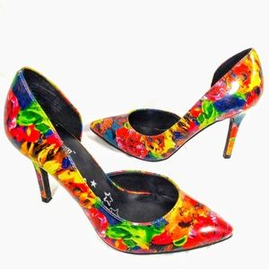 Brash Shoes - Brash multicolor floral abstract D'Orsay heels